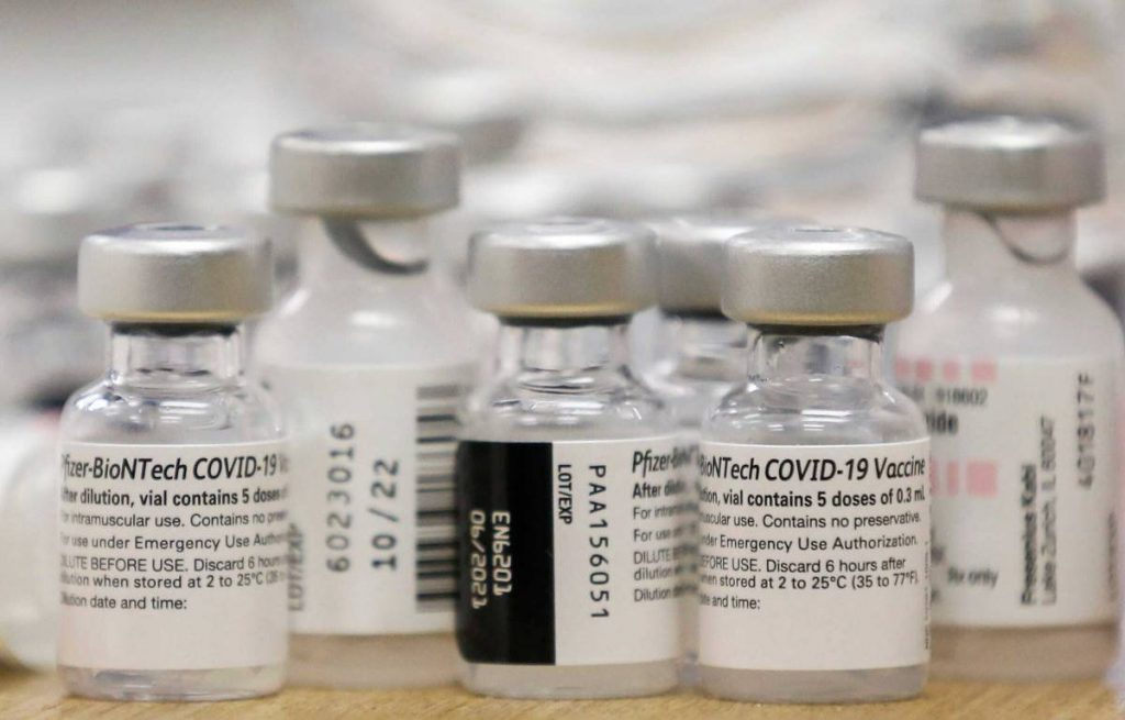 Vials of Pfizer-BioNTech vaccine
