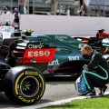 Valtteri Bottas looks at the Red Bull