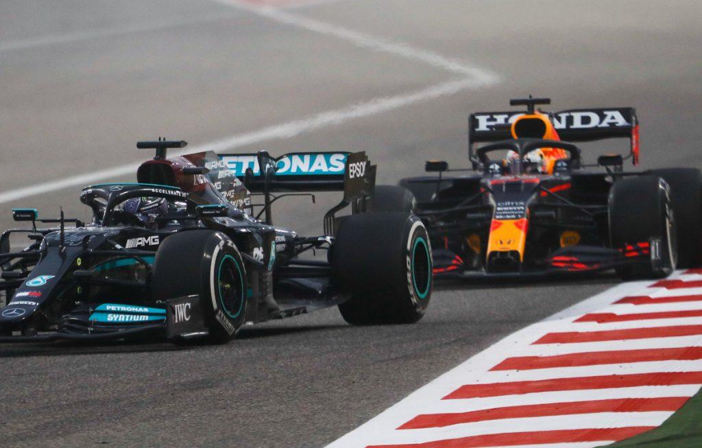 Lewis Hamilton and Max Verstappen 2021 Mercedes Red Bull Bahrain
