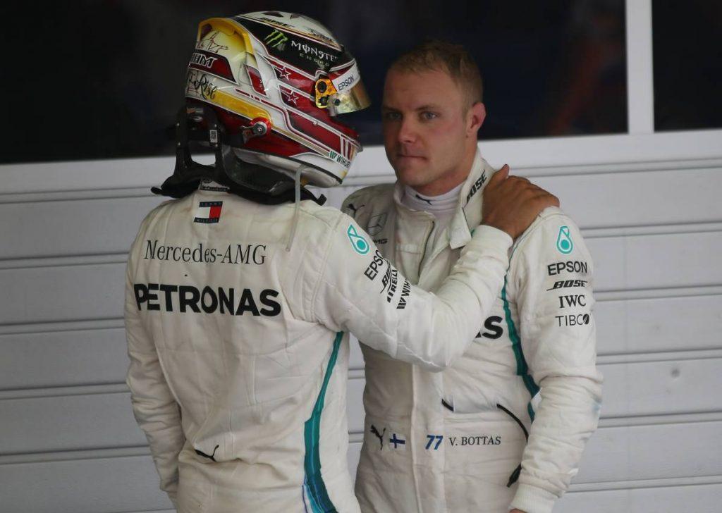 Valtteri Bottas and Lewis Hamilton after the 2018 Russian Grand Prix