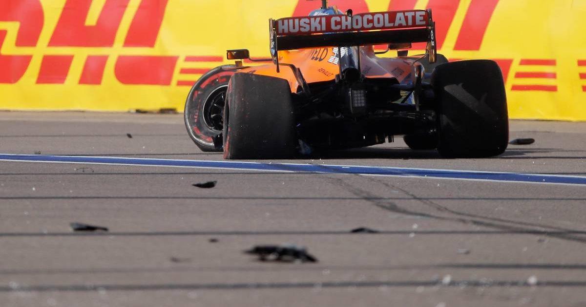 Carlos Sainz's McLaren after crashing out of the 2020 Russian Grand Prix