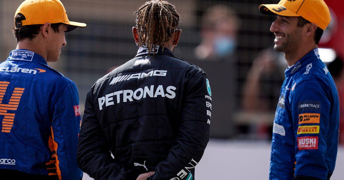 Lando Norris Lewis Hamilton and Daniel Ricciardo