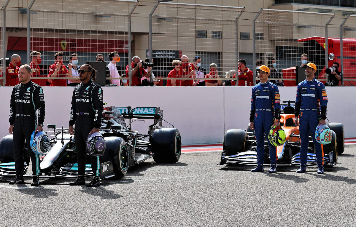 Lando Norris Lewis Hamilton Valtteri Bottas and Daniel Ricciardo
