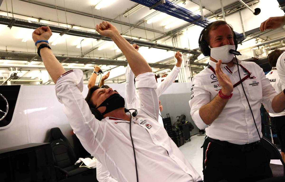 Toto Wolff celebrates Lewis Hamilton's victory for Mercedes in the Bahrain Grand Prix