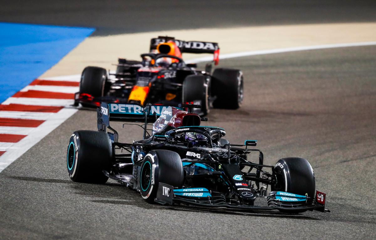 Lewis Hamilton leads Max Verstappen