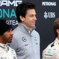 Lewis Hamilton Toto Wolff Nico Rosberg PA