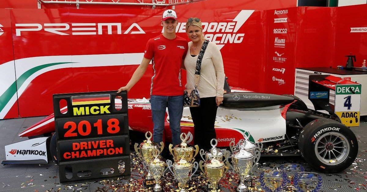 Mick Schumacher and his mother, Corinna, after winning the 2018 Formula 3 European Championship