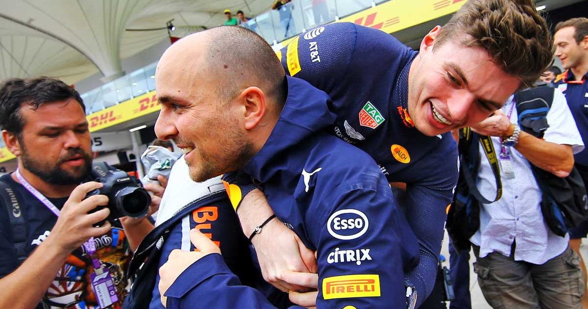 Max Verstappen with race engineer, Gianpiero Lambiase