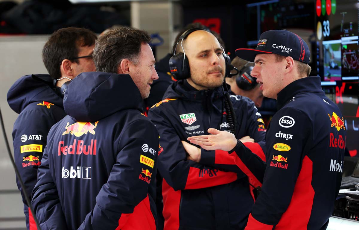 Gianpiero 'GP' Lambiase with Max Verstappen and Christian Horner