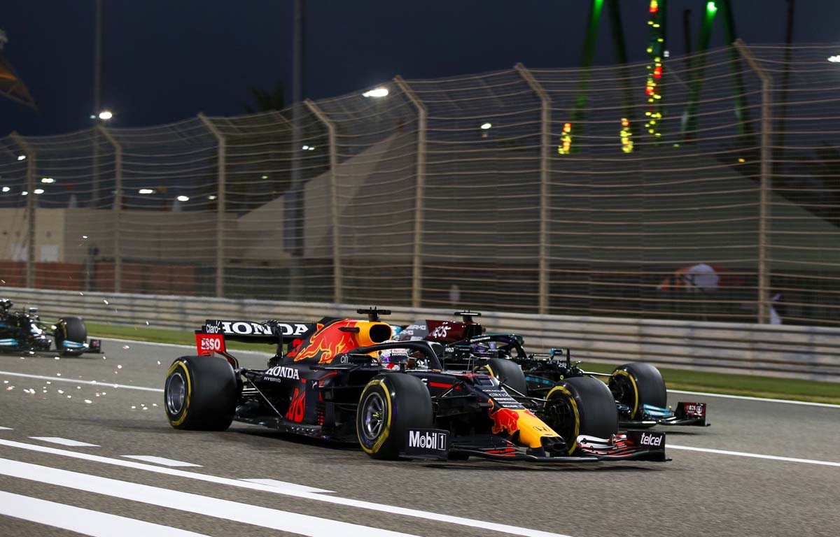 Max Verstappen leads at the start of the 2021 Bahrain Grand Prix