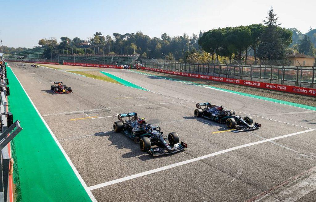 Valtteri Bottas, Lewis Hamilton, Mercedes, 2020 Emilia Romagna Grand Prix at Imola