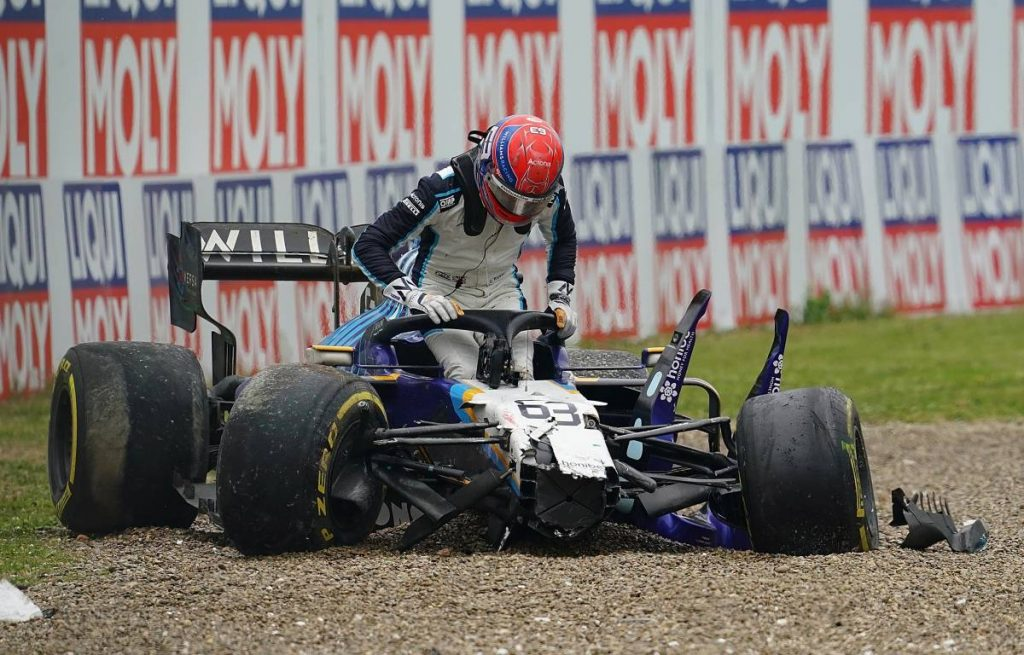 George Russell after his crash with Valtteri Bottas at Imola 2021