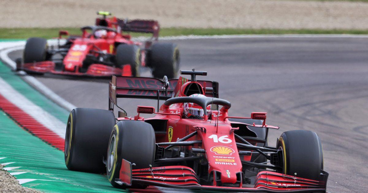 Charles Leclerc leads Carlos Sainz Ferrari