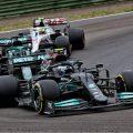 Valtteri Bottas, Mercedes, ahead of Aston Martin and Haas at Imola