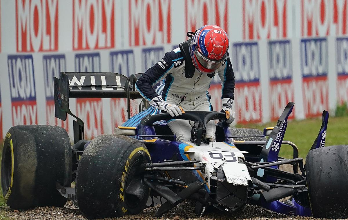 George Russell Imola crash