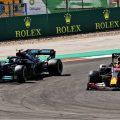 Valtteri Bottas, Mercedes, is overtaken by Max Verstappen, Red Bull, in the 2021 Portuguese Grand Prix