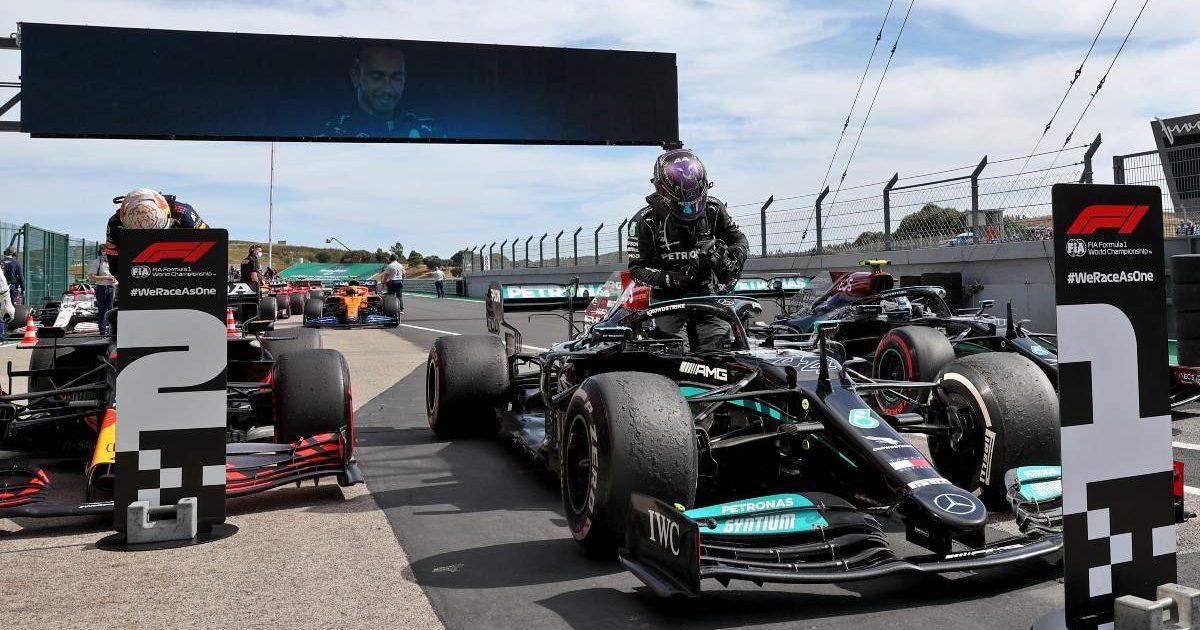 2021 Portuguese Grand Prix parc ferme, Lewis Hamilton and Max Verstappen