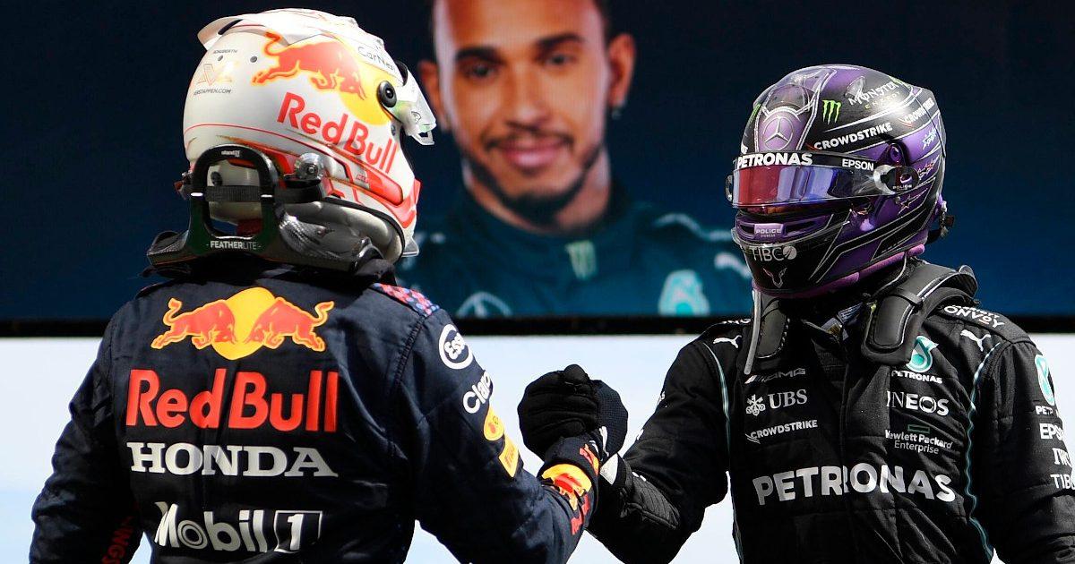 Max Verstappen congratulates Lewis Hamilton