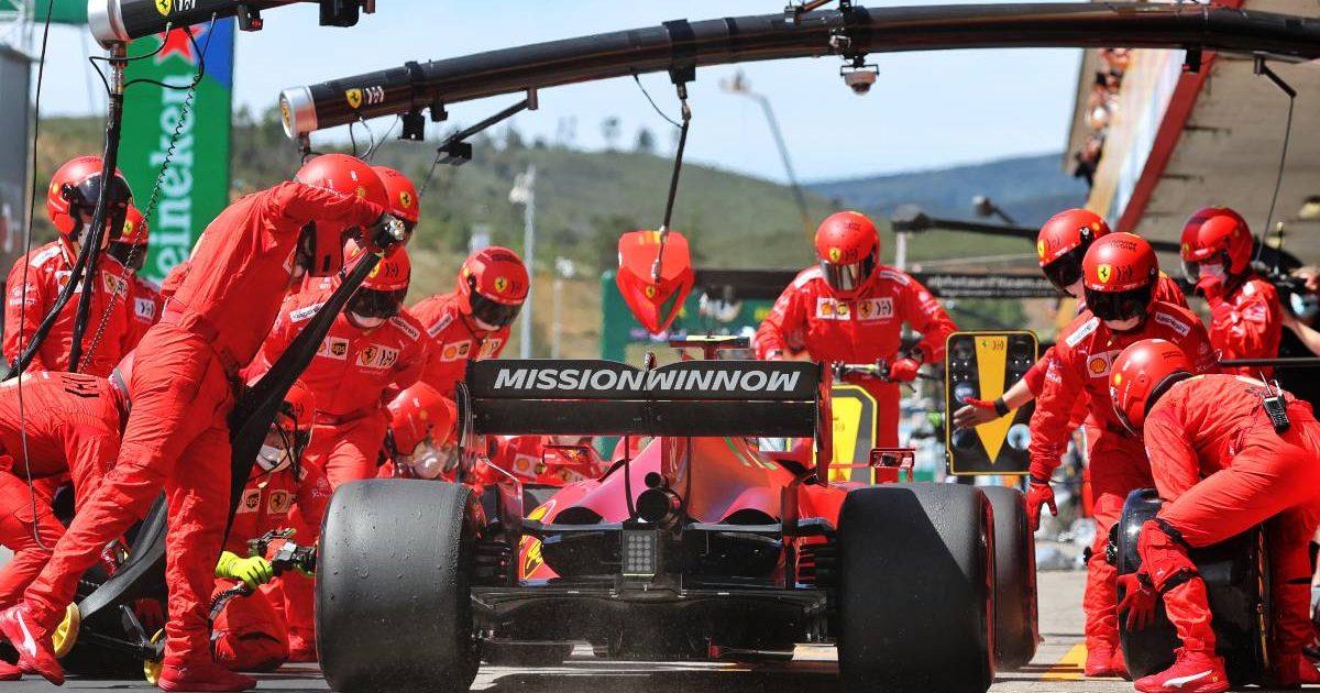 Carlos Sainz pit-stop at the 2021 Portuguese Grand Prix