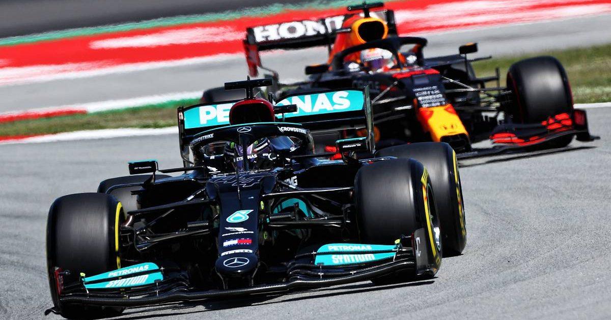 Sir Lewis Hamilton, Mercedes, followed by a Red Bull