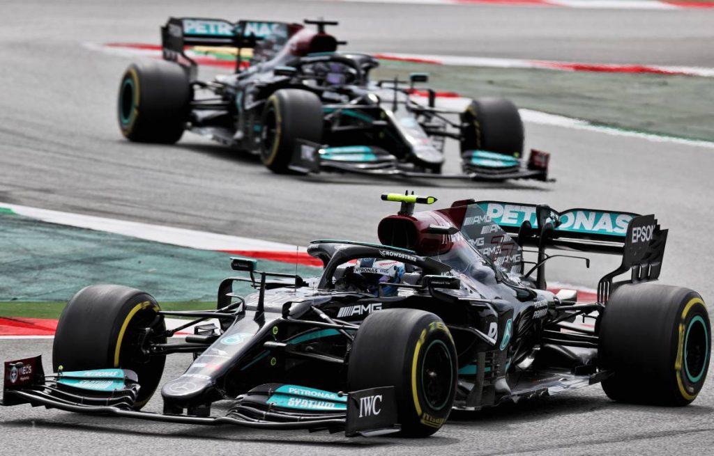 Valtteri Bottas ahead of Mercedes team-mate Lewis Hamilton