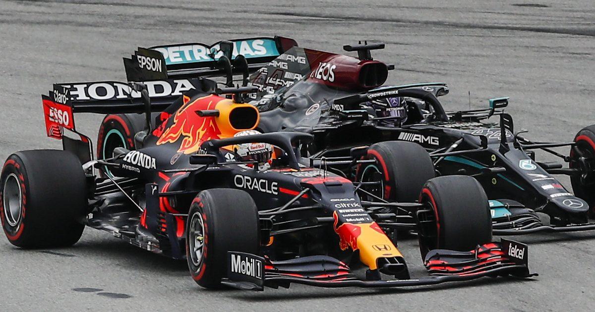 Max Verstappen races Lewis Hamilton