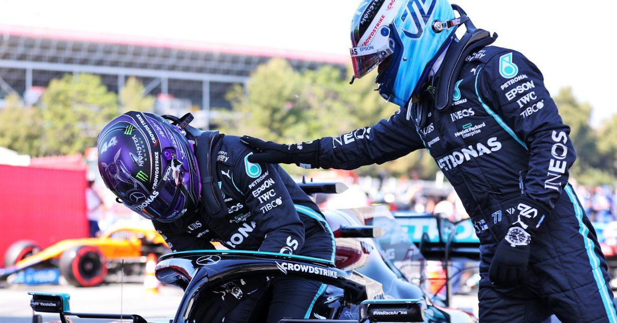 Valtteri Bottas congratulates Lewis Hamilton
