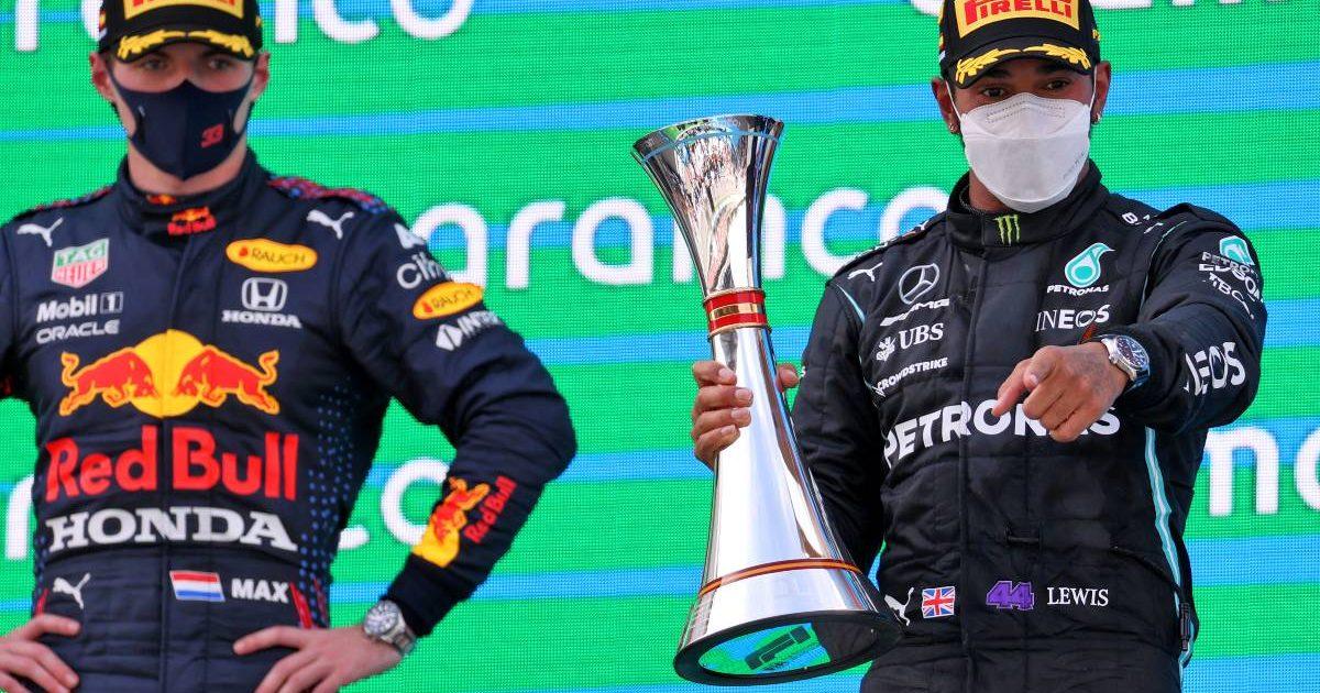 Lewis Hamilton Max Verstappen, 2021 Spanish Grand Prix podium