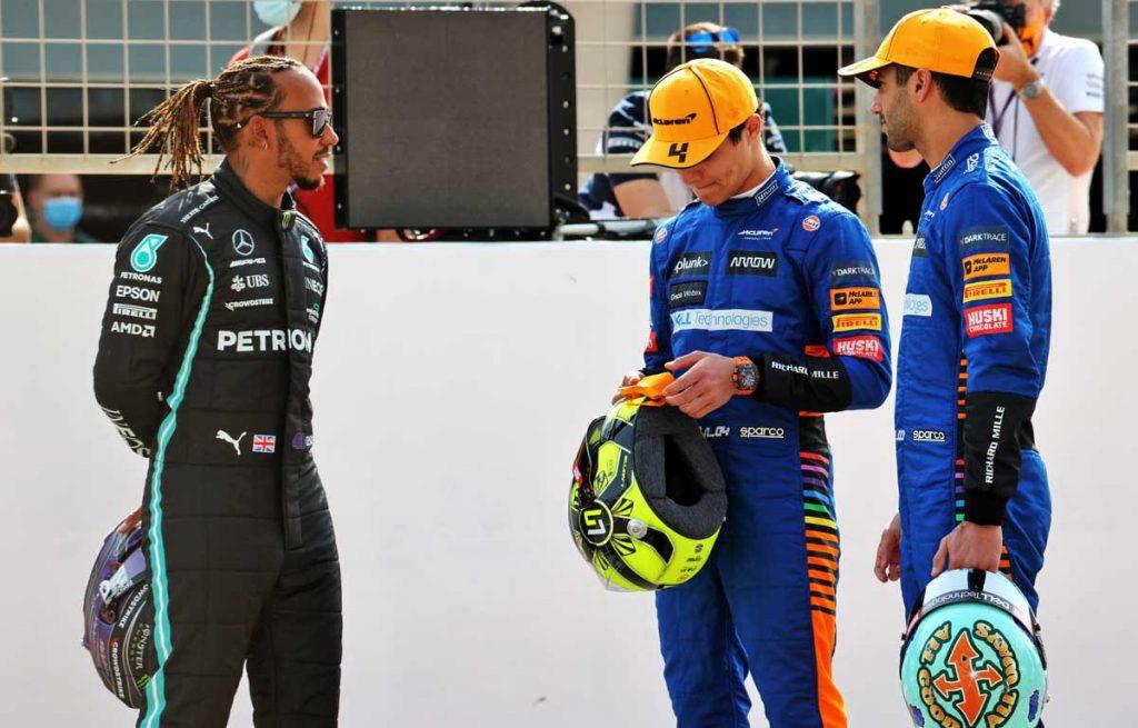 Daniel Ricciardo Lewis Hamilton Lando Norris PA