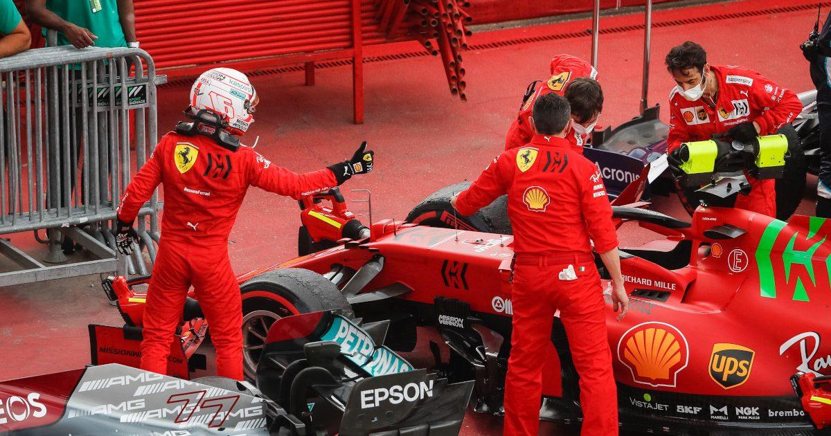 Charles Leclerc thumb up to Carlos Sainz