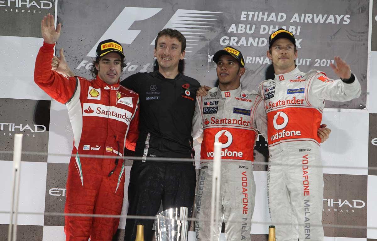 Lewis Hamilton Jenson Button Fernando Alonso PA