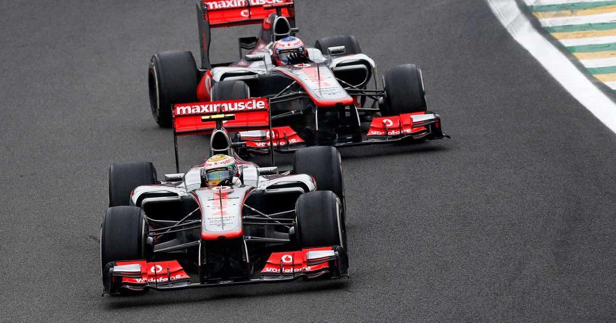 Lewis Hamilton Jenson Button McLaren Brazil 2012 PA
