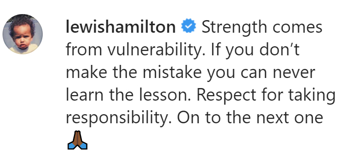 Lewis Hamilton George Russell Instagram message