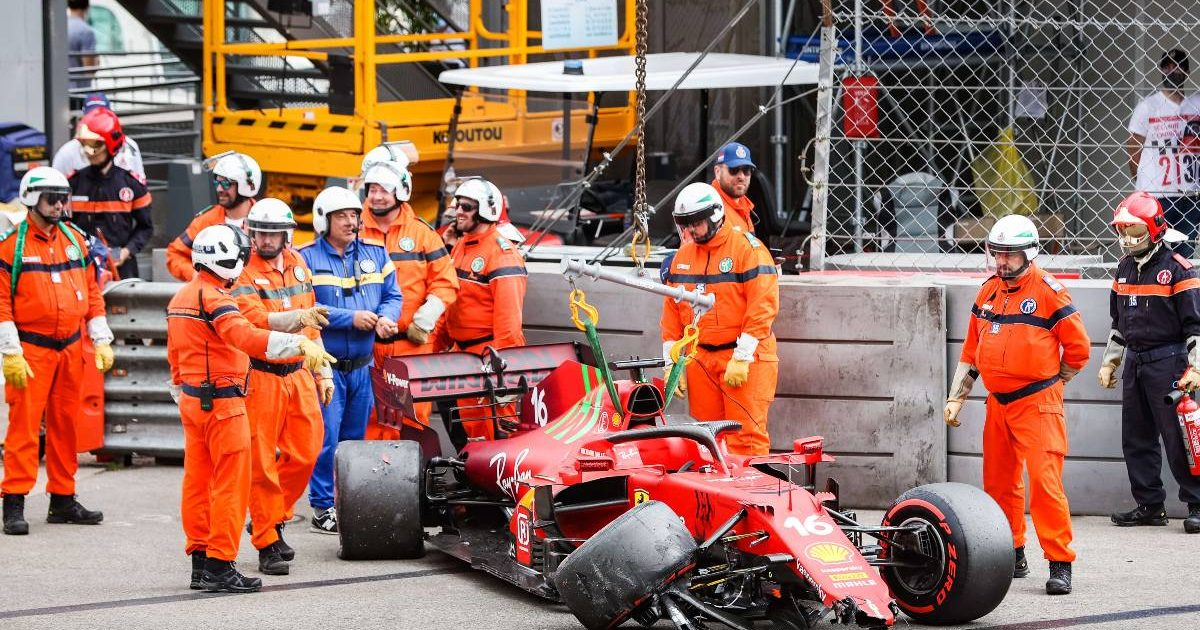 Charles Leclerc's stricken Ferrari after Monaco Grand Prix qualifying crash