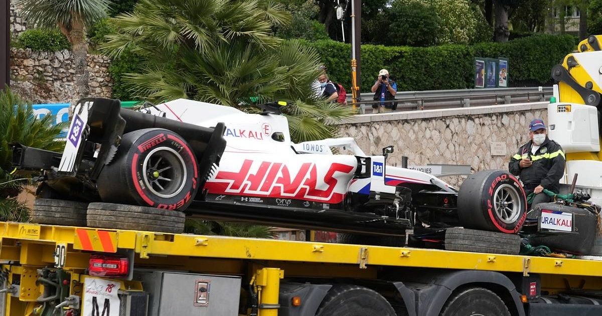 Mick Schumacher's Haas after his crash in FP3 for the Monaco Grand Prix