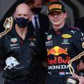 Adrian Newey and Max Verstappen, 2021 Monaco Grand Prix podium