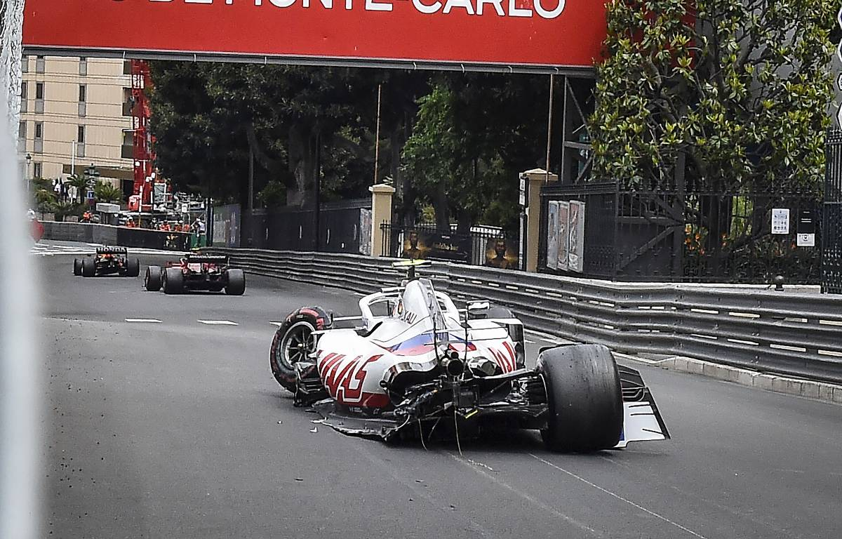 Mick Schumacher's Haas after a crash during FP3 at the 2021 Monaco Grand Prix