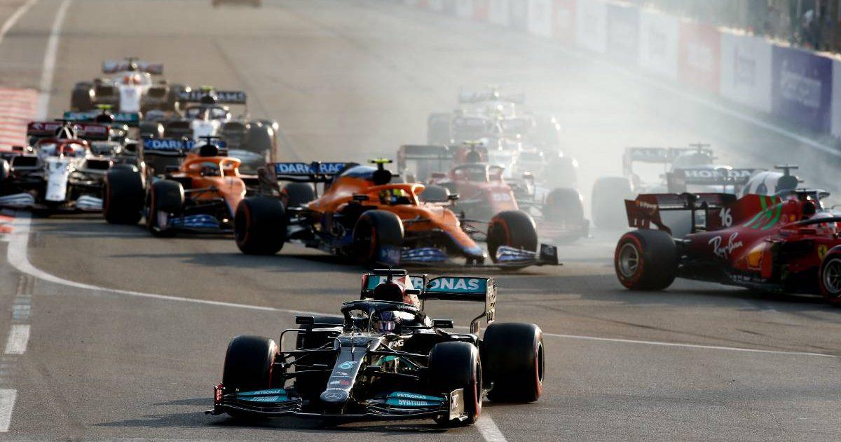 Lewis Hamilton goes off track during the 2021 Azerbaijan Grand Prix