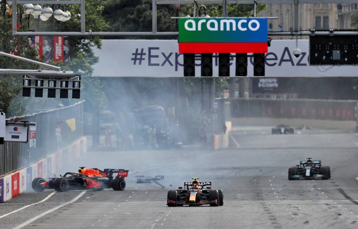 Max Verstappen's crashed Red Bull during the 2021 Azerbaijan Grand Prix