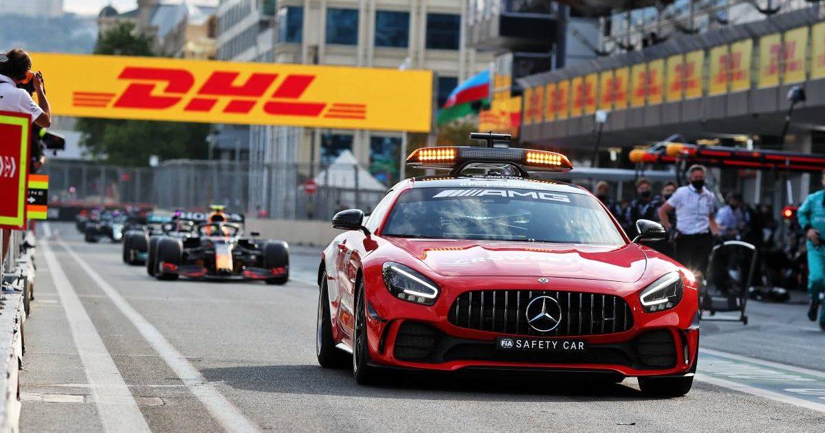 Safety Car leads Sergio Perez through the pit lane during the 2021 Azerbaijan Grand Prix