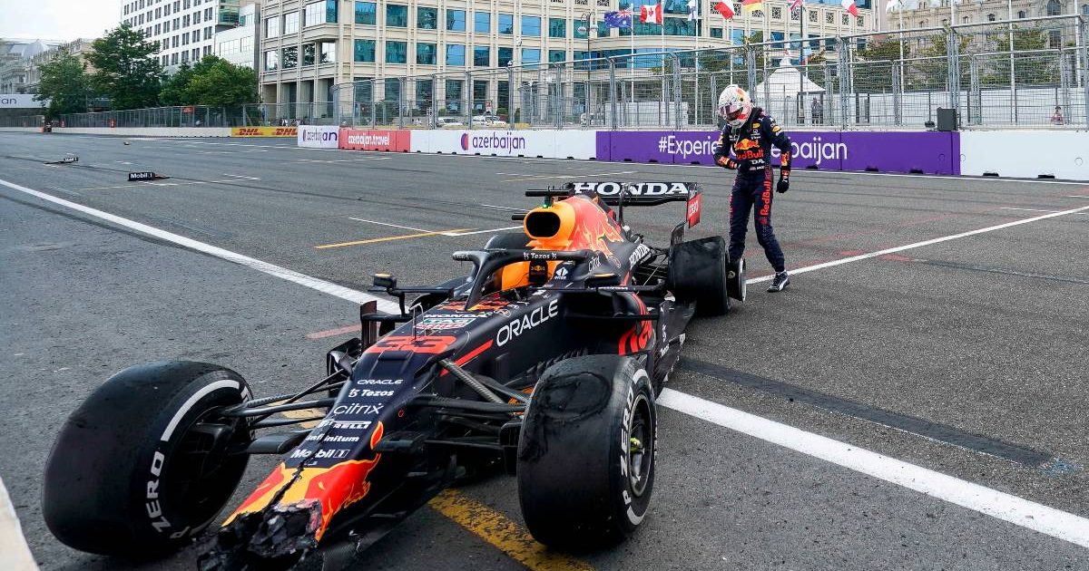 Max Verstappen with his crashed Red Bull during the 2021 Azerbaijan Grand Prix