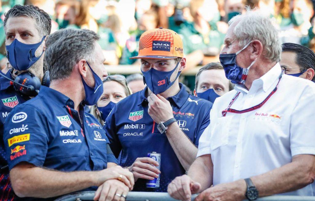 Christian Horner Max Verstappen Helmut Marko Red Bull