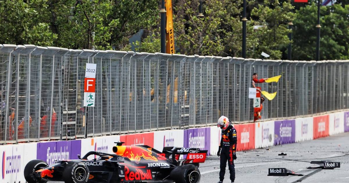 Max Verstappen with his Red Bull after crashing during the 2021 Azerbaijan Grand Prix