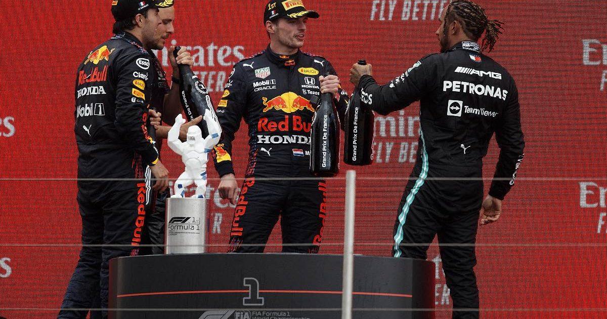 Max Verstappen, Lewis Hamilton and Sergio Perez on the 2021 French Grand Prix podium