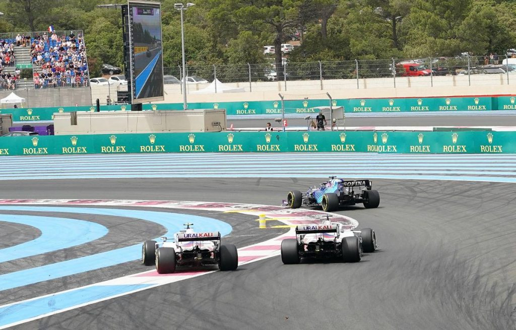 Mick Schumacher takes to the run-off area to avoid his Haas team-mate Nikita Mazepin during the 2021 French Grand Prix