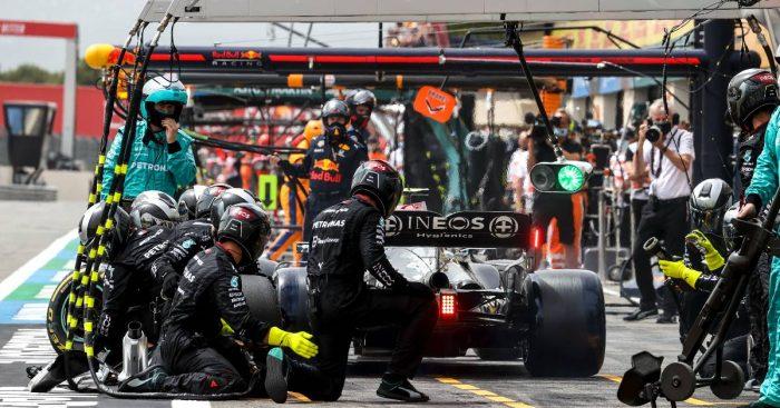 Valtteri Bottas in the Mercedes pits