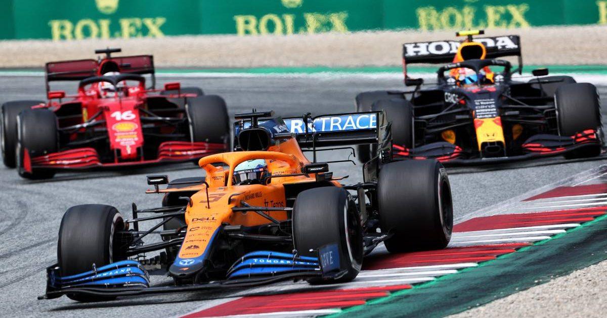 Daniel Ricciardo, McLaren, ahead of Red Bull and Ferrari