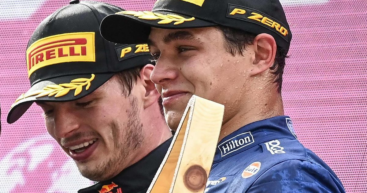 Lando Norris and Max Verstappen podium