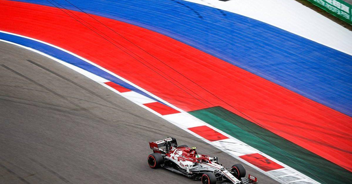 Antonio Giovinazzi's Alfa Romeo on the Sochi circuit, home of the Russian Grand Prix