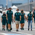 Sebastian Vettel track walk with Aston Martin team